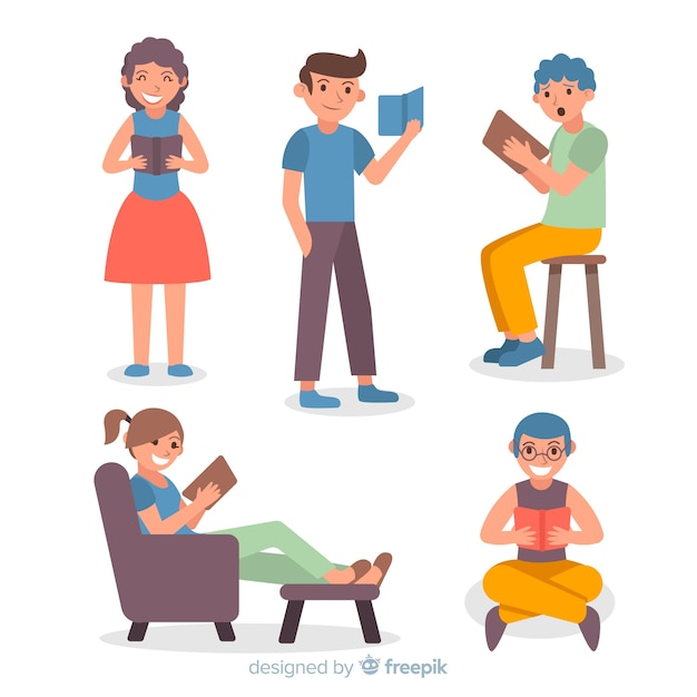 Ensemble de jeunes lisant des livres Vecteur gratuit