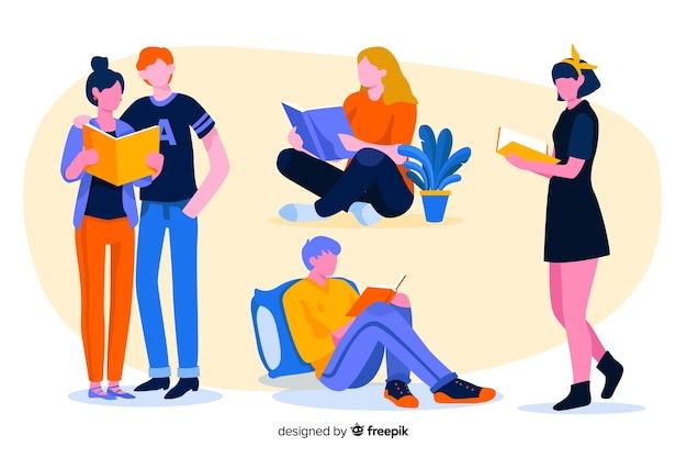 Ensemble de jeunes lisant Vecteur gratuit