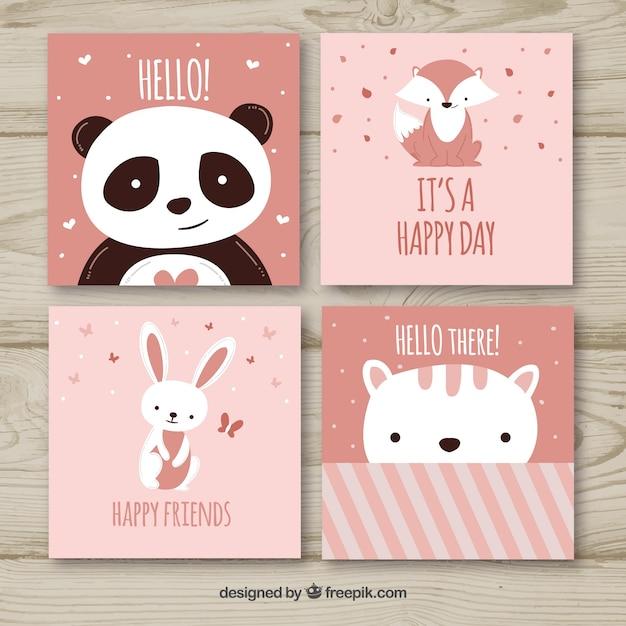 Ensemble de jolies cartes animales Vecteur gratuit