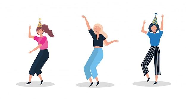 Ensemble de jolies femmes dansant avec un chapeau de fête Vecteur gratuit