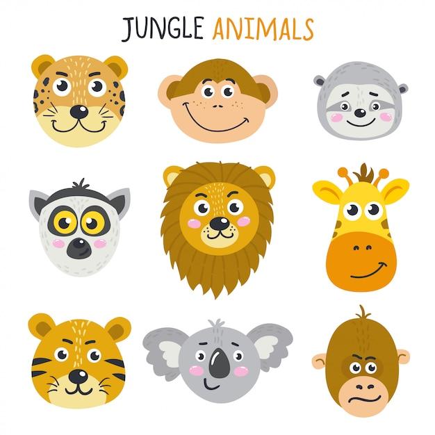Ensemble de jolis visages d'animaux Vecteur Premium