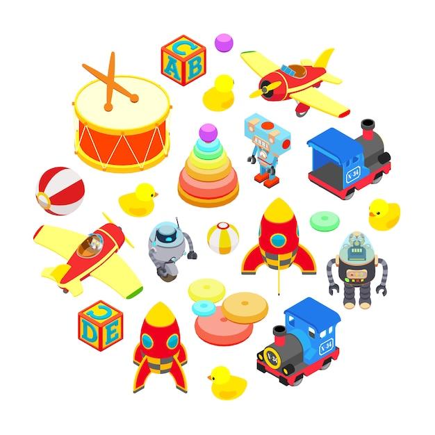 Ensemble de jouets isométriques isolés sur fond blanc Vecteur Premium