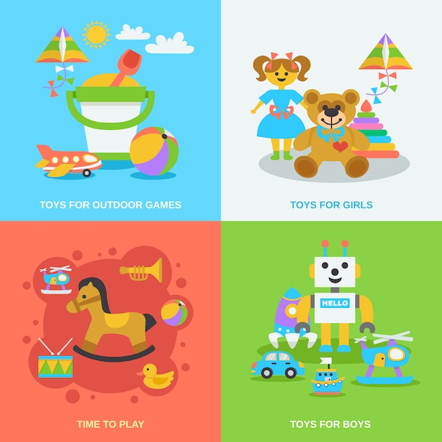Ensemble de jouets plats Vecteur gratuit