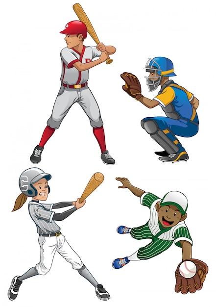 Ensemble De Joueur De Baseball Vecteur Premium