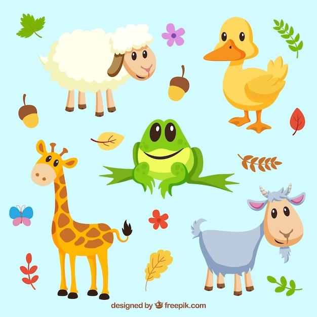 Ensemble joyeux d'animaux souriants Vecteur gratuit