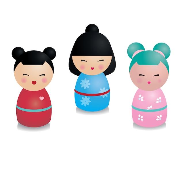 Ensemble de kokeshi kawaii mignon Vecteur Premium