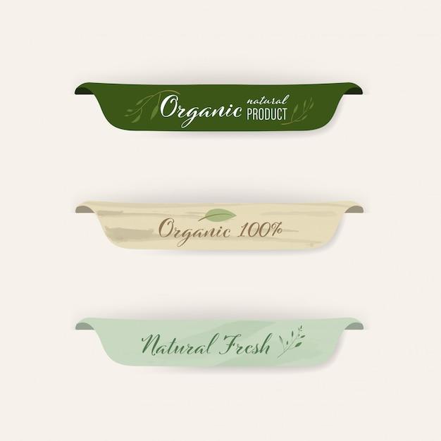 Ensemble de label naturel et conception d'insignes biologiques. Vecteur Premium