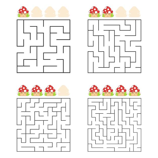 Un Ensemble De Labyrinthes Carrés. Quatre Niveaux De Difficulté. Champignons Mignons. Vecteur Premium