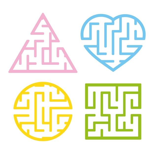 Un ensemble de labyrinthes Vecteur Premium