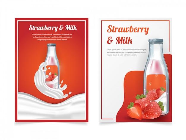 Ensemble de lait aux fraises dans un modèle de conception de flyer de bouteille Vecteur Premium