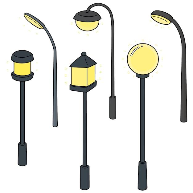 Ensemble de lampe d'extérieur Vecteur Premium