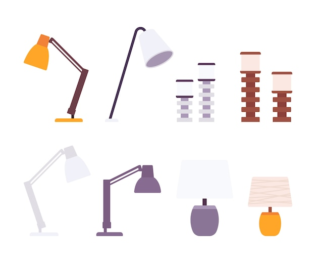 Ensemble De Lampes De Bureau Vecteur Premium