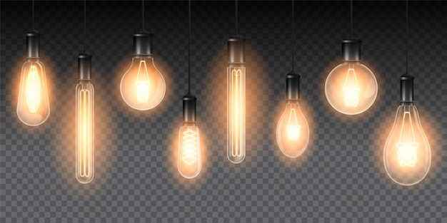Ensemble De Lampes Lumineuses Réalistes, Lampes Suspendues à Un Fil. Lampe à Incandescence Isolée Sur Fond Sombre à Carreaux Vecteur Premium