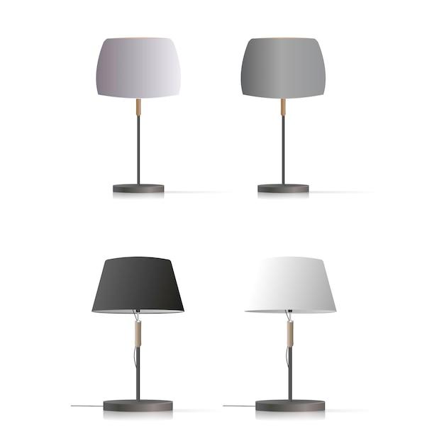 Ensemble De Lampes De Table Décoratives. Modèle Original Avec Un Abat-jour En Soie Et Un Pied En Métal. Vecteur Premium