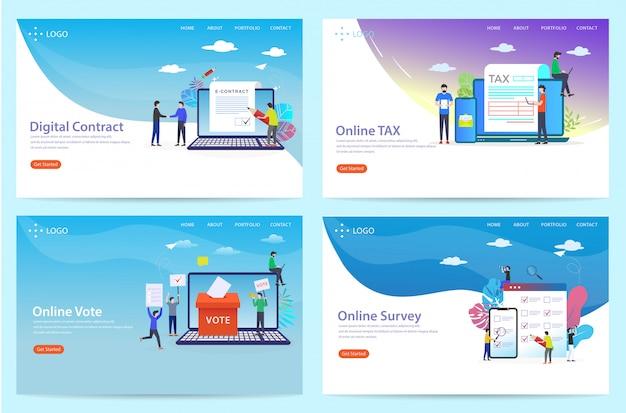 Ensemble de landing page avec le thème de l'accord, illustration Vecteur Premium