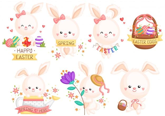 Ensemble de lapin de pâques girly Vecteur Premium