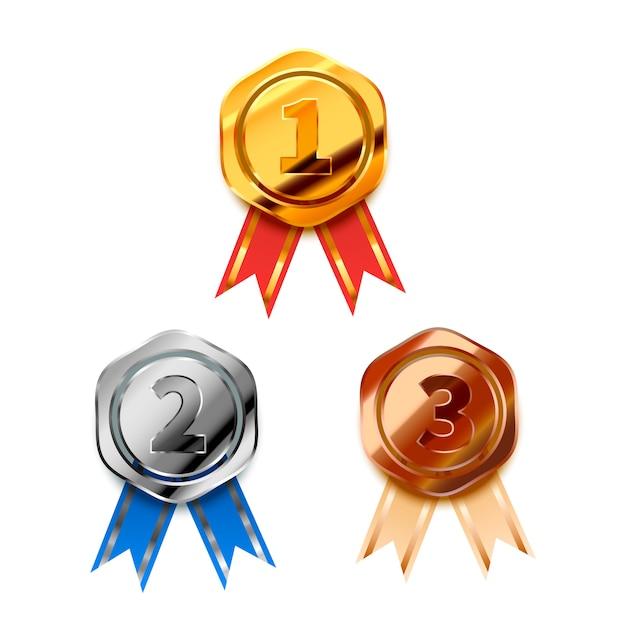 Ensemble De Lauréats Brillants D'or, D'argent Et De Bronze Avec Des Bandes Pour Les Première, Deuxième Et Troisième Places, Des Badges Brillants Sur Blanc Vecteur Premium