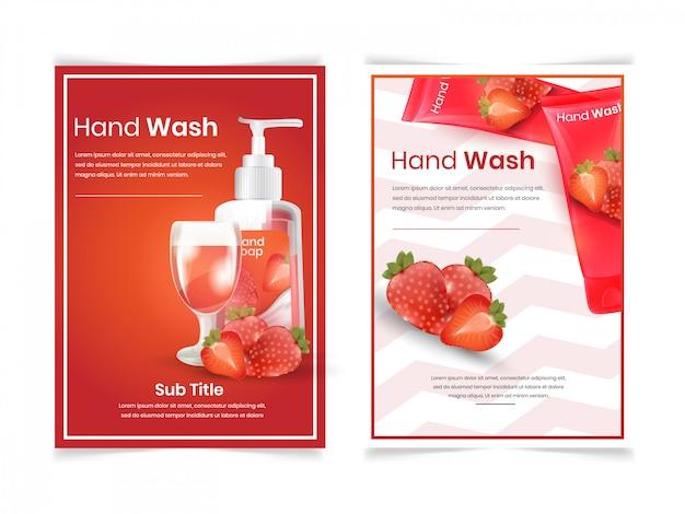 Ensemble de lavage du visage et du corps avec arôme de fraise Vecteur Premium