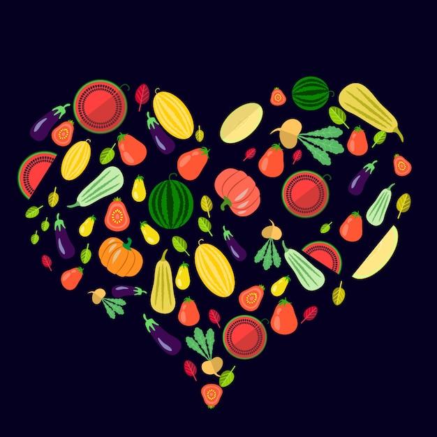 Ensemble de légumes en forme de coeur sur bleu foncé Vecteur Premium