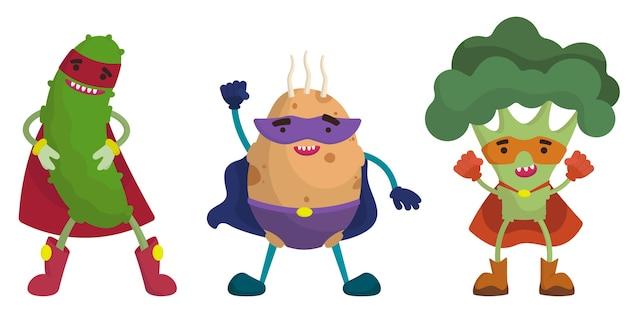 Ensemble De Légumes De Super-héros. Concombre, Pomme De Terre Et Brocoli En Style Cartoon. Vecteur Premium