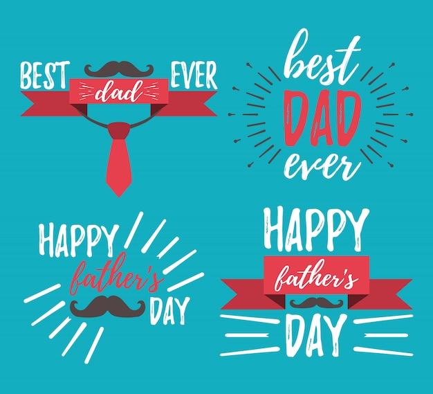 Ensemble De Lettrage Happy Father's Day Vecteur Premium