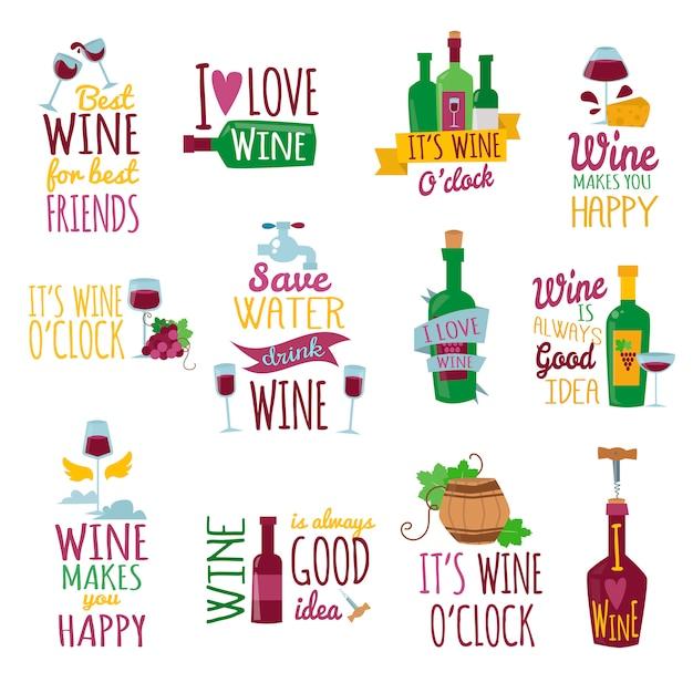 Ensemble de lettrage sur le thème du vin. j'aime le vin Vecteur Premium