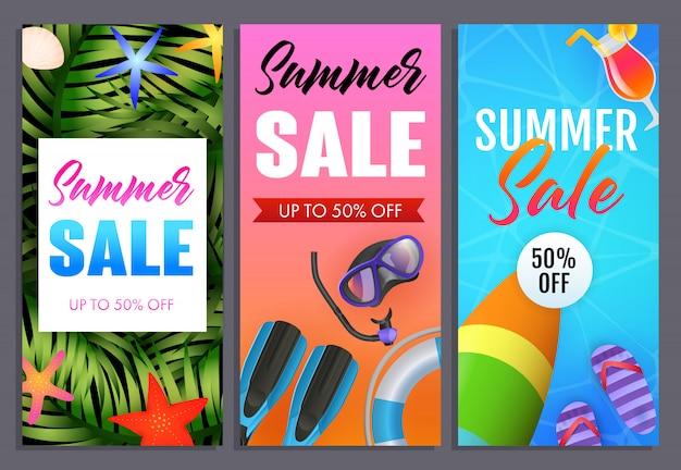 Ensemble de lettrages de vente d'été, tongs, masque de plongée et de plongée Vecteur gratuit