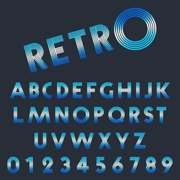 Ensemble de lettres et chiffres rétro Vecteur Premium