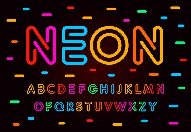 Ensemble De Lettres, Chiffres Et Symboles Néon. Style De Tube Coloré Abc Vecteur Premium