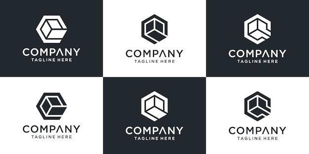 Ensemble De Lettres De Logo Q Avec Style De Boîte Hexagonale Vecteur Premium