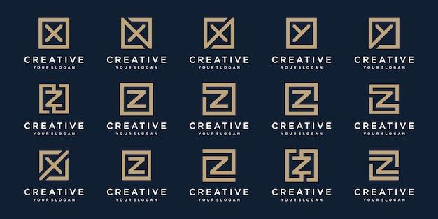 Ensemble De Lettres De Logo X, Y Et Z Avec Style Carré. Modèle Vecteur Premium