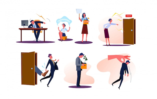 Ensemble De Licenciés Hommes Et Femmes D'affaires Avec Des Boîtes Vecteur gratuit