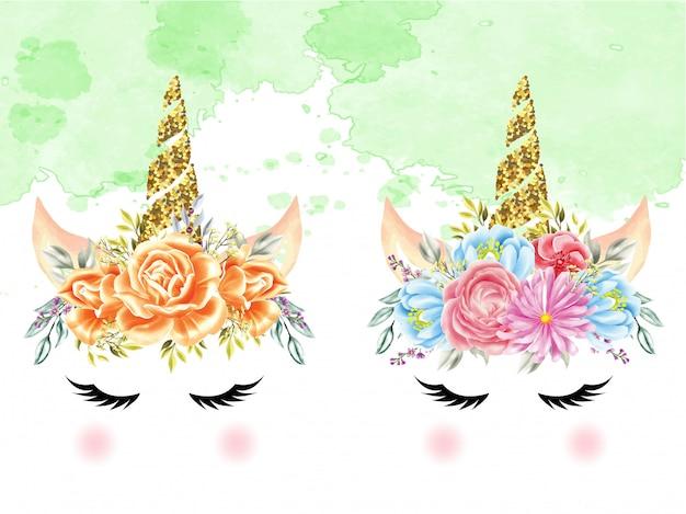 Ensemble de licornes couronnes florales aquarelles Vecteur Premium