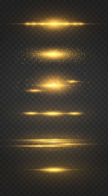 Ensemble De Ligne Lumineuse Avec Des étincelles Sur Fond Noir, Effet De Lumière, Couleur Dorée. Vecteur Premium