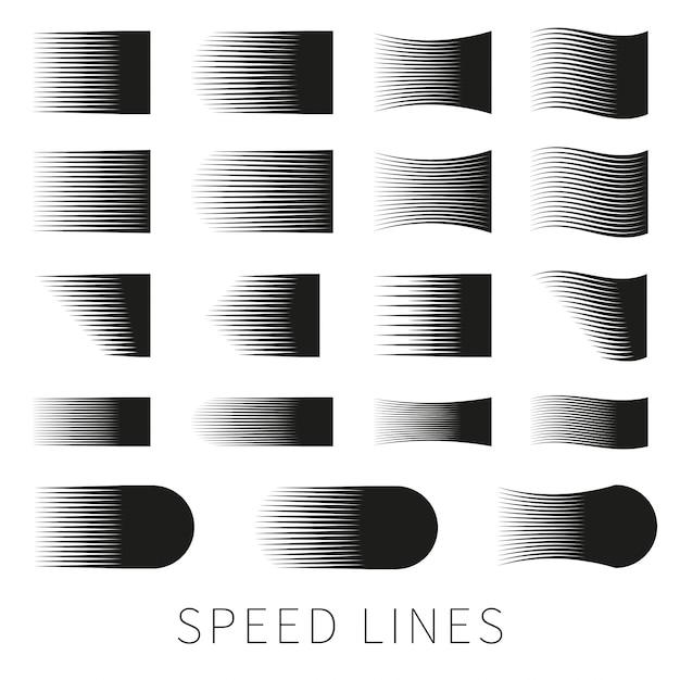 Ensemble de ligne de vitesse de vecteur noir simple et différent Vecteur gratuit