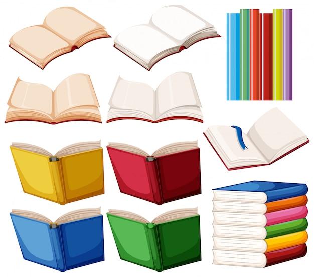 Ensemble de livre sur fond blanc Vecteur gratuit
