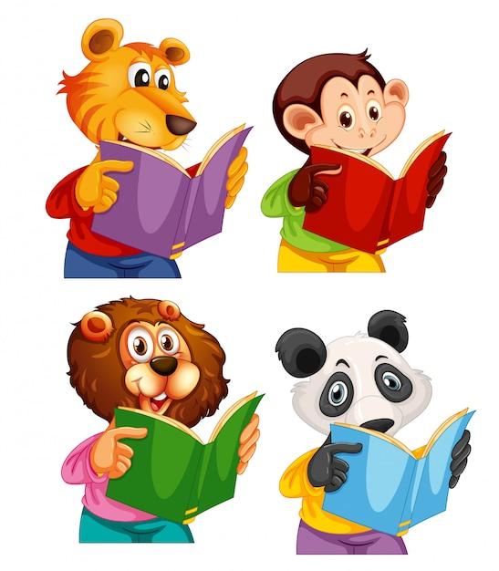 Ensemble de livre de lecture d'animal Vecteur gratuit
