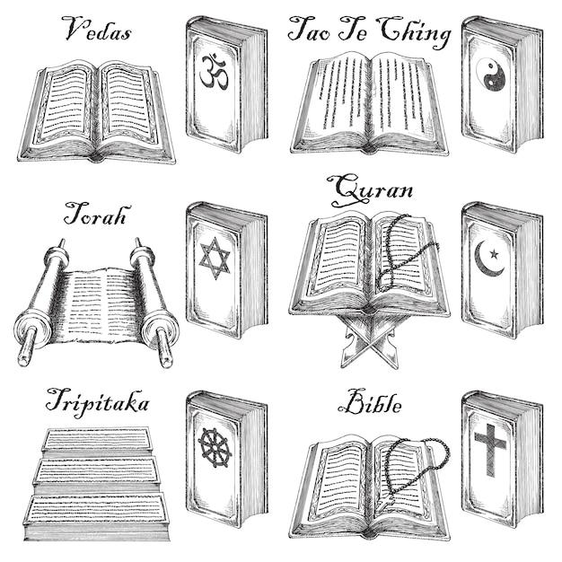 Ensemble de livres saints style croquis dessinés à la main d'encre. Vecteur Premium