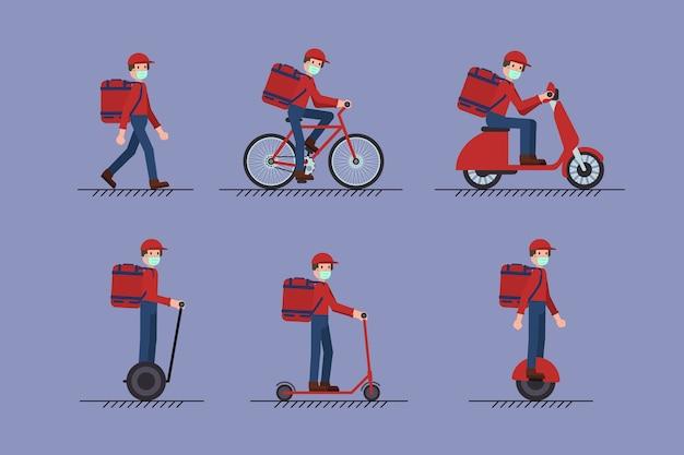 Ensemble De Livreur Avec Masque à Pied, Scooter, Vélo, Mono-roue, Segway. Concept De Coronavirus Covid-19. Vecteur Premium