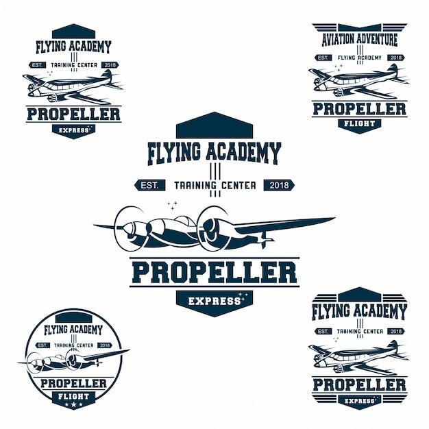 Ensemble de logo de l'armée de l'air Vecteur Premium