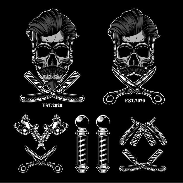 Ensemble De Logo Barbershop Skull Vecteur Premium