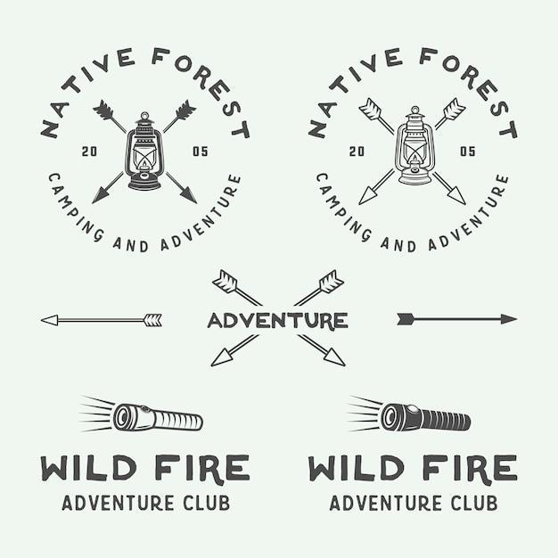 Ensemble De Logo De Camping En Plein Air Et D'aventure Vecteur Premium