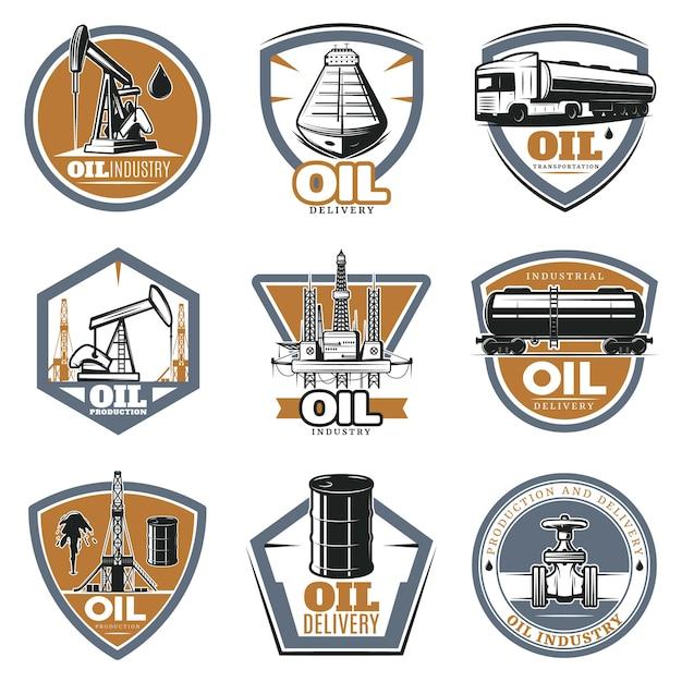 Ensemble De Logo Coloré D'extraction D'huile Vecteur gratuit