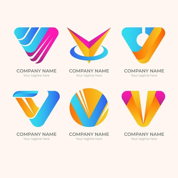 Ensemble De Logo Créatif Détaillé V Vecteur Premium