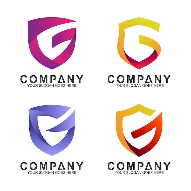 Ensemble de logo entreprise bouclier lettre g Vecteur Premium