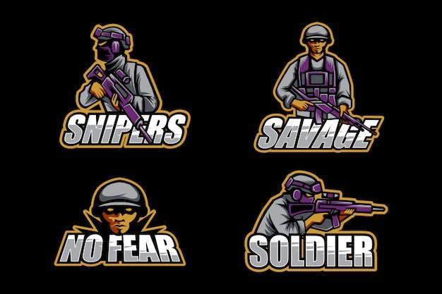 Ensemble De Logo Esport Soldat Vecteur Premium