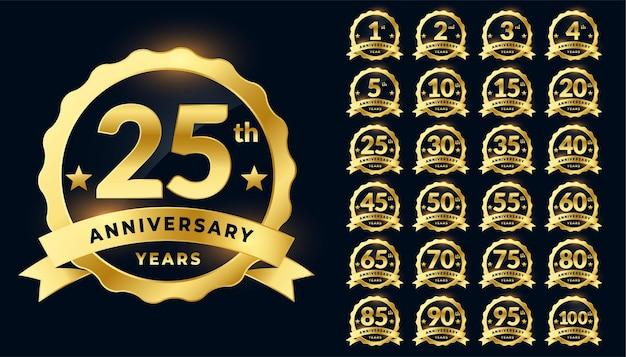 Ensemble De Logo étiquette Anniversaire De Mariage Insigne Doré Vecteur gratuit
