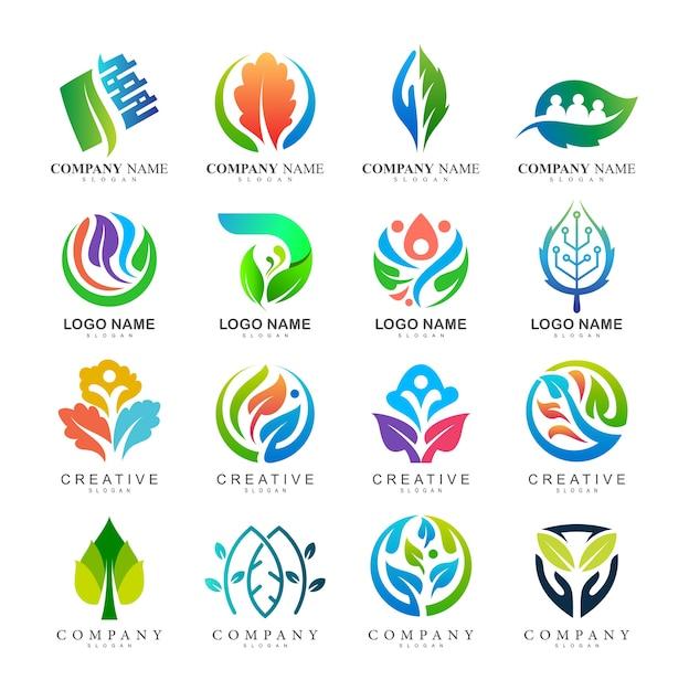 Ensemble de logo feuille, collection de logo feuille Vecteur Premium