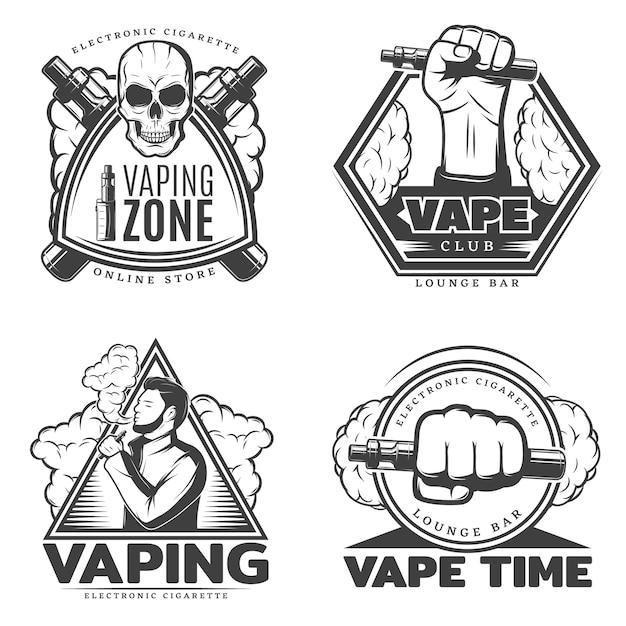 Ensemble De Logo Fumée Monochrome Vecteur gratuit