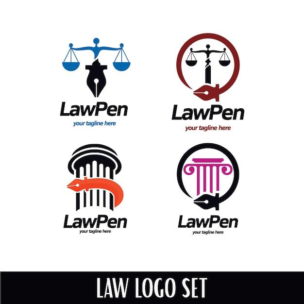 Ensemble de logo law pen Vecteur Premium